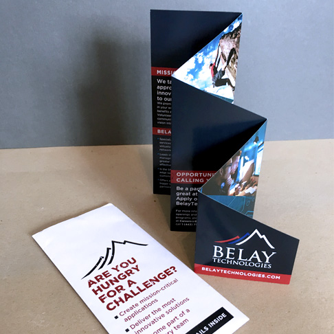 Belay Technologies recruiting brochure design